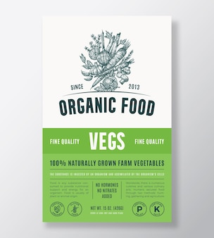 Conception d'emballage de vecteur abstrait d'aliments biologiques ou modèle d'étiquette. bannière de repas cultivés à la ferme. typographie moderne et mise en page de fond de croquis de légumes et d'herbes dessinés à la main avec une ombre douce.