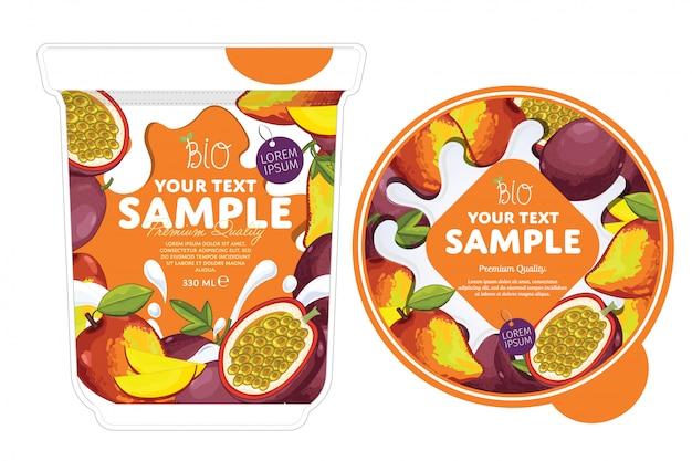 Conception d'emballage de yaourt mangue et fruit de la passion