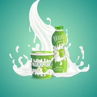 Conception d'emballage de yogourt aux pommes avec éclaboussures de tourbillon de lait savoureux
