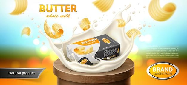 Conception d'emballages pour produits laitiers margarine au beurre bannière publicitaire à effet d'éclaboussures de lait