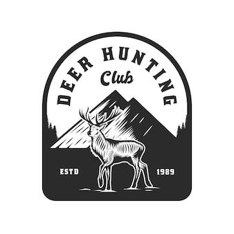 Conception d'emblème d'aventure de chasse au cerf