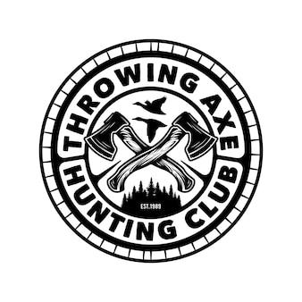 Conception d'emblème d'aventure de chasse à la hache