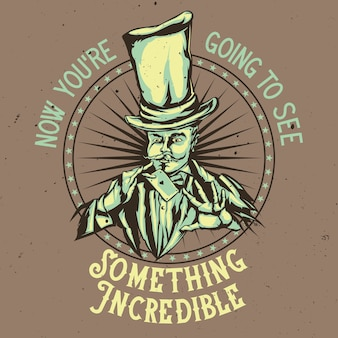 Conception de l'emblème avec illustration du magicien au chapeau avec carte dans les mains