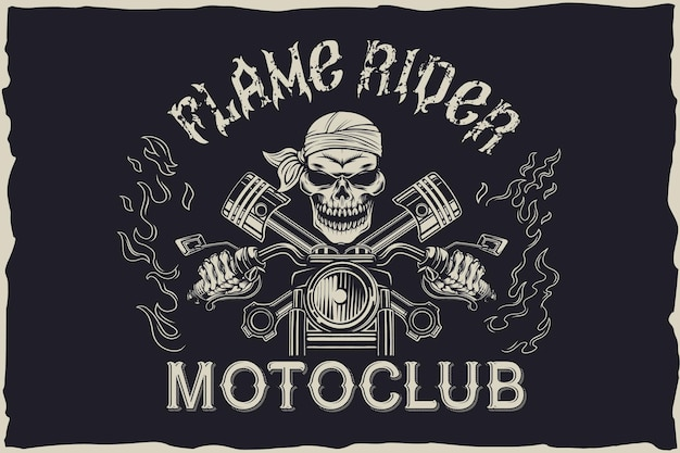 Conception d'emblème de motoclub de cavalier de flamme