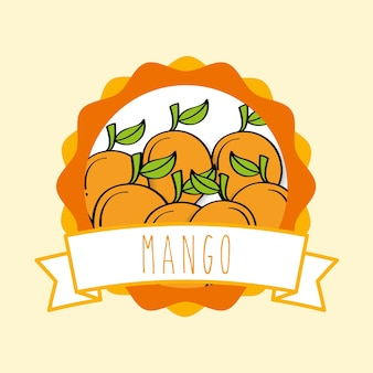 Conception d'emblème organique de fruit naturel de mangue fraîche