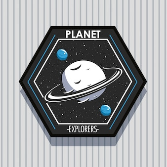 Conception d'emblème de patch d'explorateur spatial