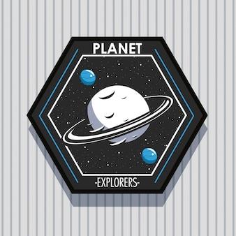 Conception d'emblème de patch d'explorateur spatial