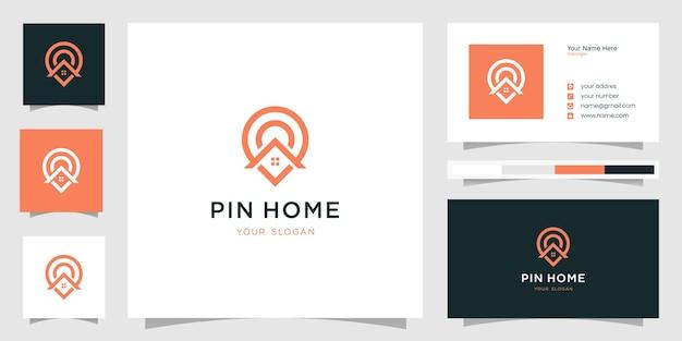 Conception de l'emplacement de la maison. modèle de logo et carte de visite