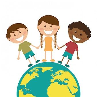 Conception d'enfants au cours de l'illustration vectorielle fond blanc