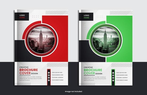 Conception d'ensemble de couverture de livre d'entreprise avec deux couleurs et des formes minimales.