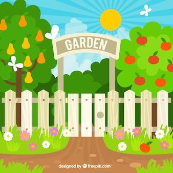 Conception d'entrée de jardin plat