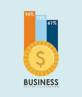 Conception de l'entreprise au cours de l'illustration vectorielle fond bleu