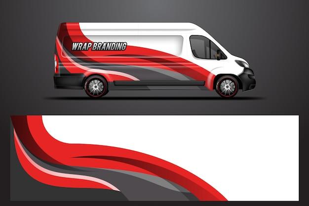 Conception d'entreprise d'emballage de voiture vecteur conceptions de fond graphique pour la livrée de fourgon de véhicule
