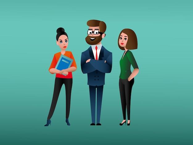 Conception d'entreprise avec personnage de dessin animé pour site web