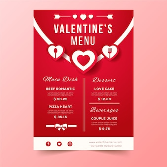 Conception d'enveloppe de menu de la saint-valentin