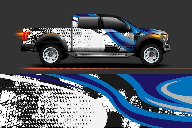 Conception d'enveloppe de vinyle de véhicule avec fond abstrait de rayures de course