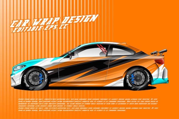 Conception d'enveloppe de voiture avec un style de course de texture abstraite