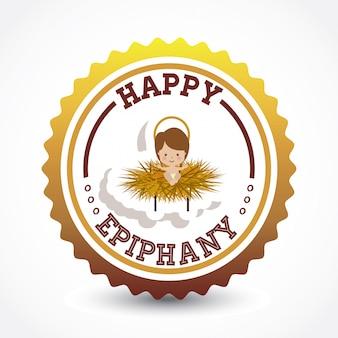 Conception d'épiphanie heureuse sur fond blanc