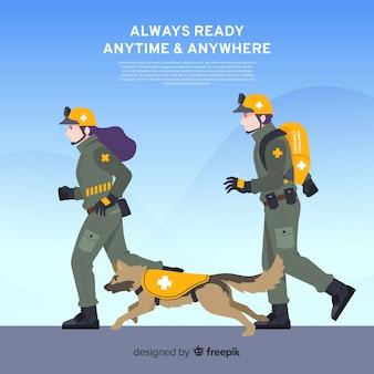 Conception d'équipe d'urgence à plat