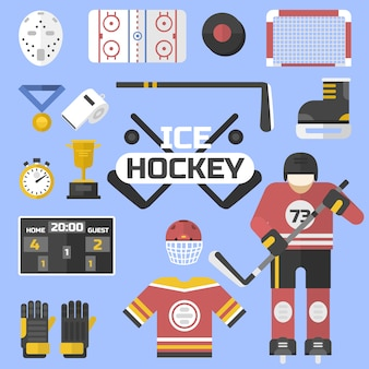 Conception d'équipement de hockey sport icônes