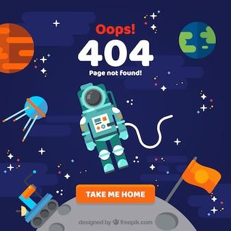 Conception d'erreur 404 avec astronaute