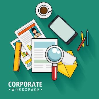 Conception d'espace de travail corporate avec des fournitures de bureau sur illustration vectorielle de fond sarcelle