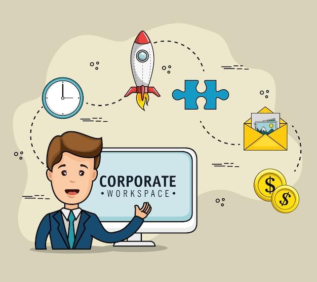 Conception d'espace de travail corporatif avec l'homme d'affaires et les objets liés à la stratégie sur fond clair vecto