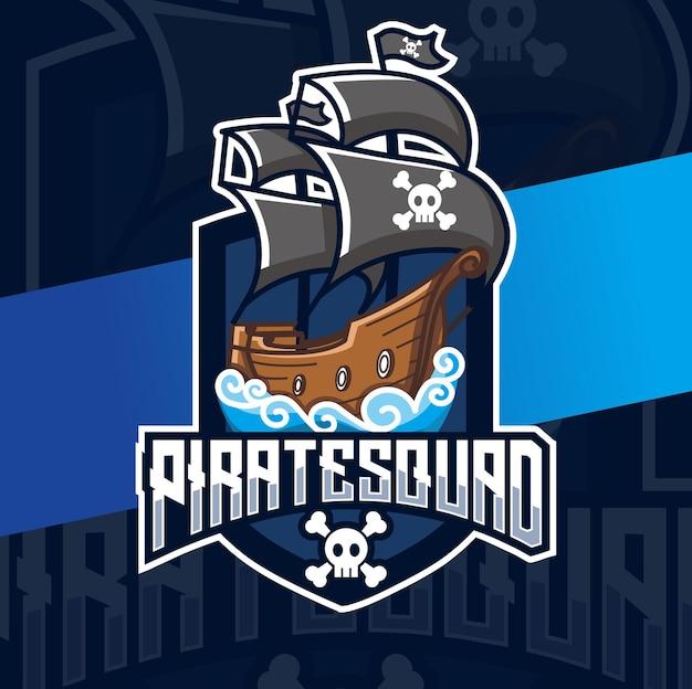 Conception d'esport de logo de bateau de pirate pour le jeu et les vacances