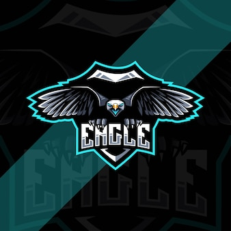 Conception d'esport de logo de mascotte d'aigle mouche