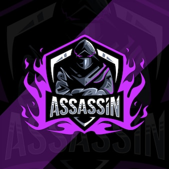 Conception d'esport logo mascotte assassin