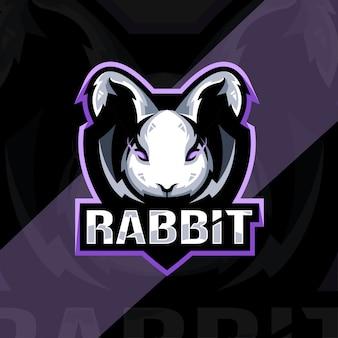 Conception d'esport de logo de mascotte en colère de lapin