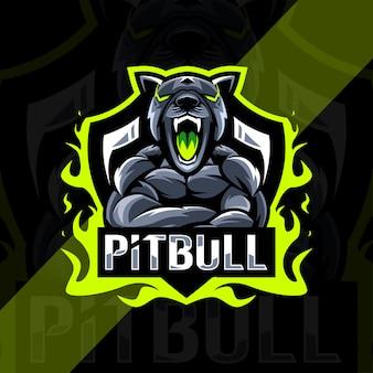 Conception d'esport de logo de mascotte en colère de pitbull