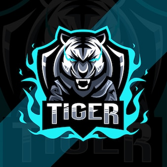 Conception d'esport de logo de mascotte en colère de tigre mignon