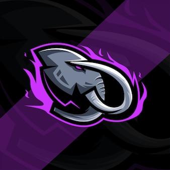 Conception d'esport de logo de mascotte d'éléphant de tête