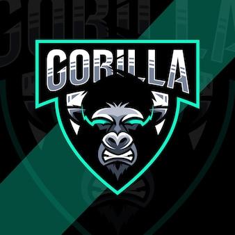 Conception d'esport de logo de mascotte de gorille en colère