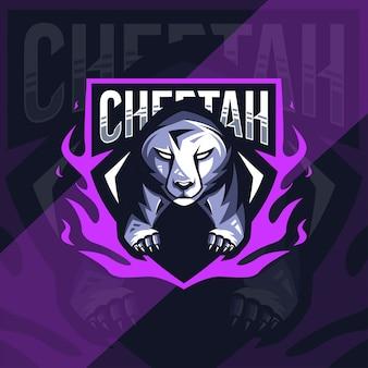 Conception d'esport de logo de mascotte de guépard