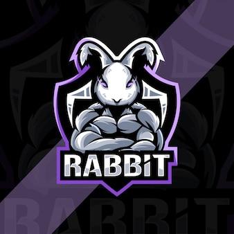 Conception d'esport de logo de mascotte de lapin