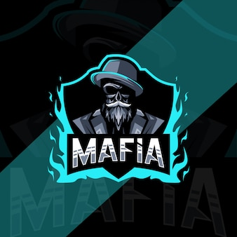 Conception d'esport logo mascotte mafia