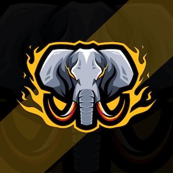 Conception d'esport de logo de mascotte de mammouth