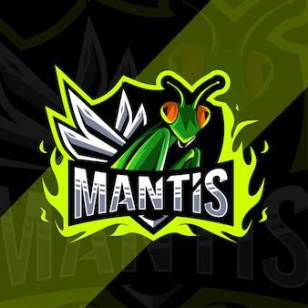 Conception d'esport de logo de mascotte de mantis