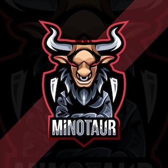 Conception d'esport de logo de mascotte de minotaure