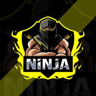 Conception d'esport logo mascotte ninja