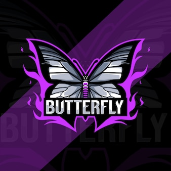 Conception d'esport logo mascotte papillon