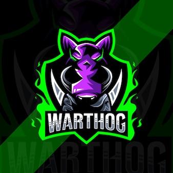 Conception d'esport logo mascotte phacochère