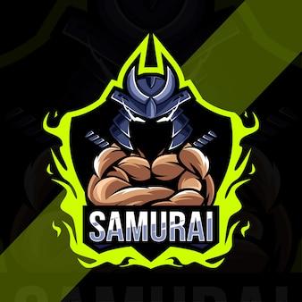 Conception d'esport de logo de mascotte de samouraï