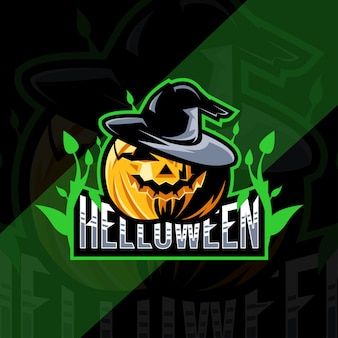 Conception d'esport de mascotte de citrouille de helloween