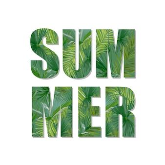 Conception d'été exotique. fond de feuilles de palmiers tropicaux. t-shirt graphique de mode.