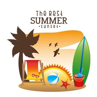 Conception de l'été sur illustration vectorielle fond blanc