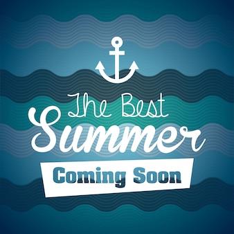 Conception de l'été sur illustration vectorielle fond bleu