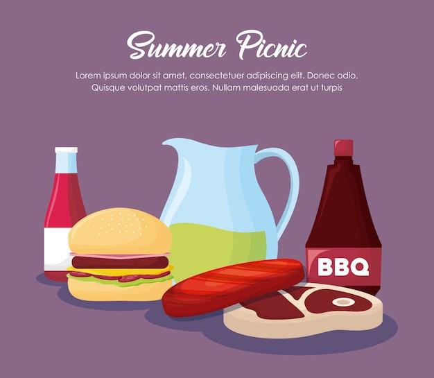 Conception d'été pique-nique avec hamburger et icônes connexes sur fond violet, design coloré. vecto